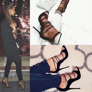 Black Suede Illusion Strappy Heels